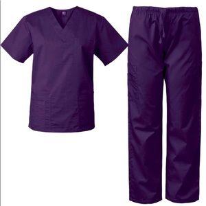 🍒06 7890 MedGear Unisex Scrubs Set PURPLE XSMALL